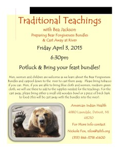 Bear Bundle Teachings with Bea Jackson Flyer 4-3-15