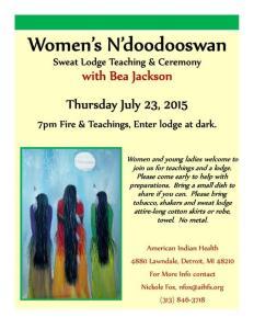 Women's Lodge with Bea Jackson Flyer 7-23-15