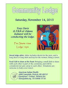 Community Sweat Lodge 11-14-15