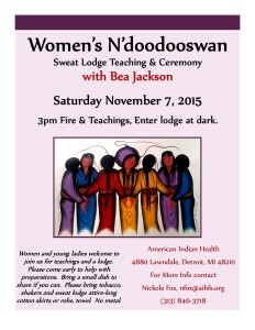 Women's Sweat Lodge with Bea Jackson Flyer 11-7-15