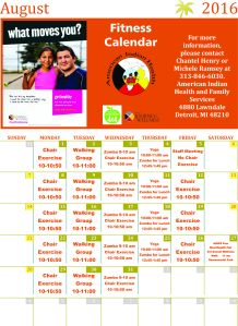 Aug 2016 fitness calendar