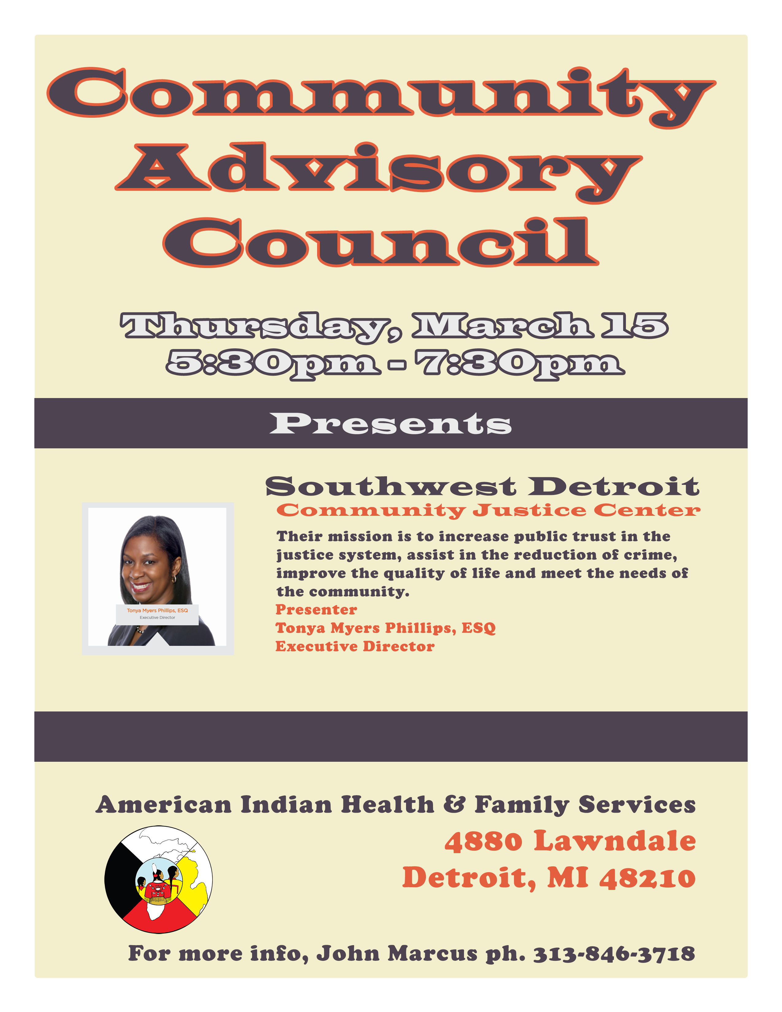 Aihfs community announcements thursday march 15th 530pm 730pm at aihfs we will have tonya myers phillips executive director of the southwest detroit community justice center aiddatafo Image collections