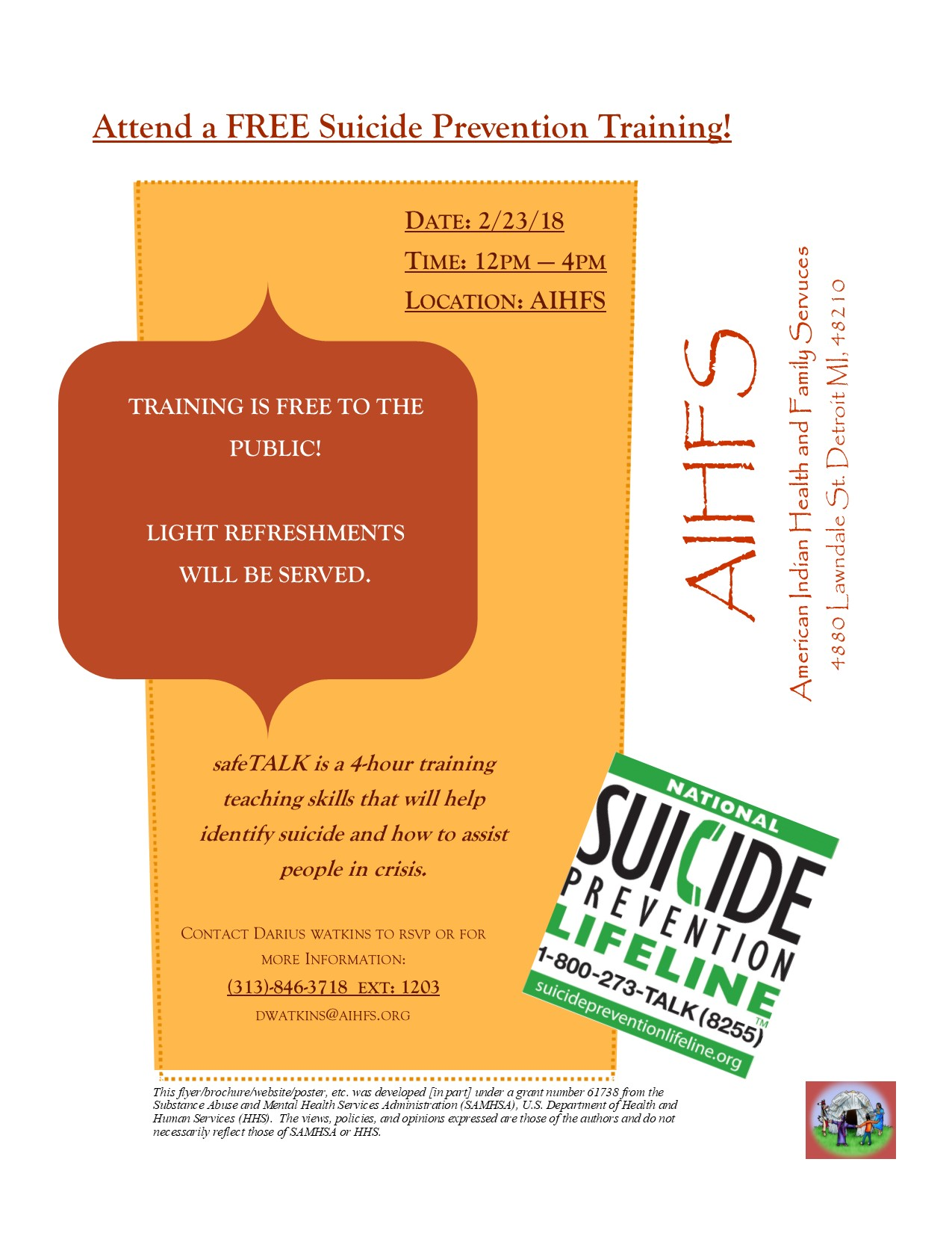 Aihfs community announcements regardless of prior experience or training to become a suicide alert helper if you or someone you know is possibly experiencing a suicidal crisis aiddatafo Image collections
