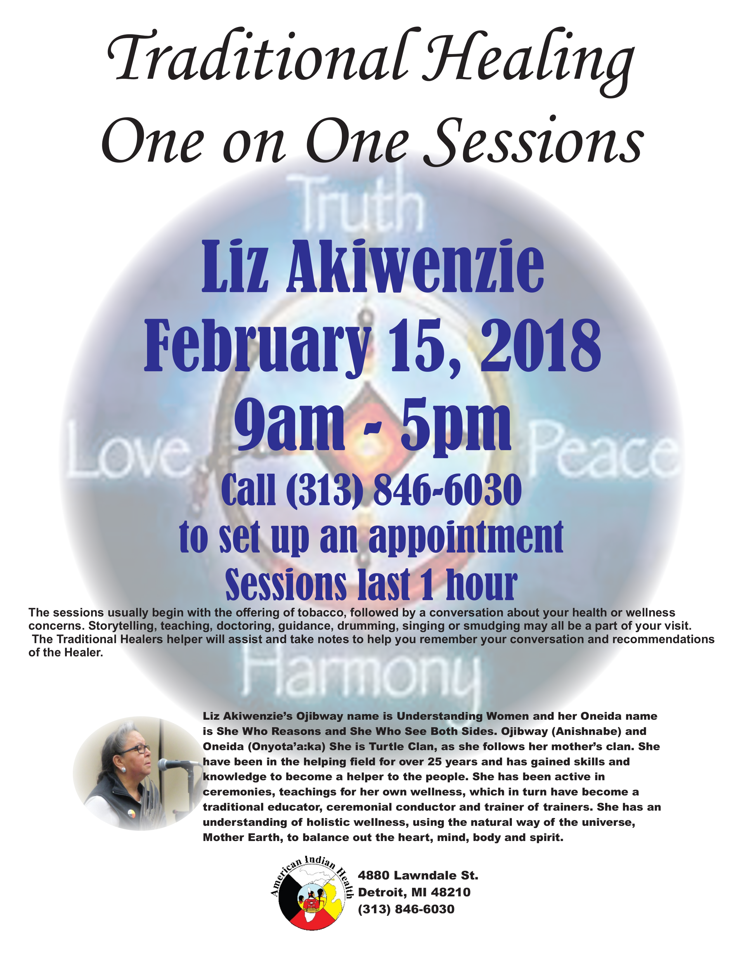 Aihfs community announcements traditional healing traditional healing one on one sessions with liz akiwenzie will be conducted february 15 from 9am to 5pm please call 313 846 6030 aiddatafo Image collections